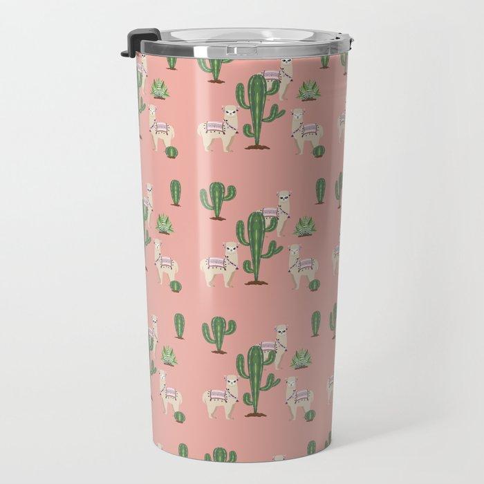 Alpaca with Cacti Travel Mug