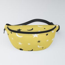 Yellow background with black and white moon and star pattern Fanny Pack