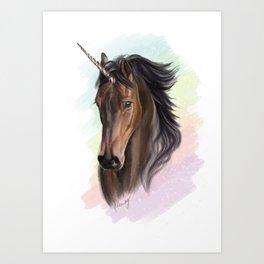 Sassy, Magical Bay Unicorn & Rainbows, YAY! Art Print