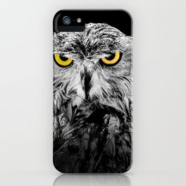 Owl photograph, black and white, with colored golden eyes iPhone Case