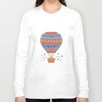 aviation Long Sleeve T-shirts featuring Hot Air Balloon by haidishabrina