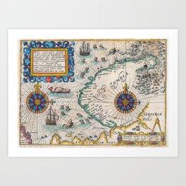 Vintage Nautical Map of the Northeast Passage,1601 Art Print