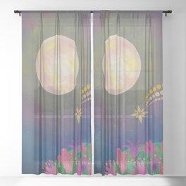 Full Moon - Scandinavian Folk Art Sheer Curtain