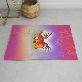 Kawaii orange baby dragon with stars Rug