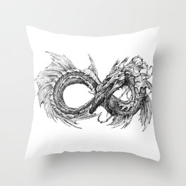 Ouroboros mythical snake on transparent background | Pencil Art, Black and White Throw Pillow
