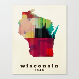 Wisconsin state map modern Canvas Print