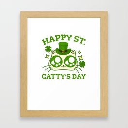 Happy St. Catty's Day St Patricks Funny Cat Clover Framed Art Print