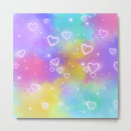 Colorful Art Design with Neon Hearts Ver.3 Metal Print