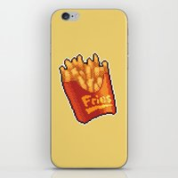 fries iPhone & iPod Skins featuring Pixel Fries by TheSkywaker
