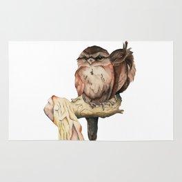 Owl Siblings Watercolor Painting Rug