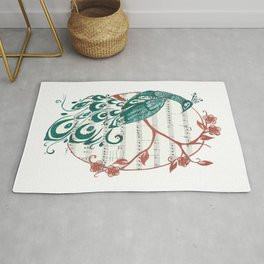 Peacock (Peacock and Cherry Blossoms on Sheet Music) Rug