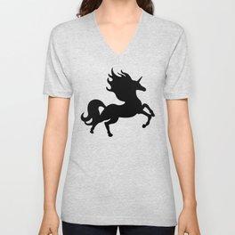 Simple Black Unicorn Unisex V-Neck