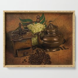 Vintage coffee grinder, pot an beans Serving Tray