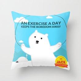 Jack - The athlet polar bear Throw Pillow