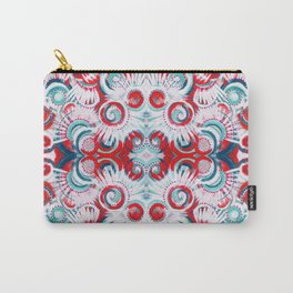 Happy Swirls in Red and Teal Carry-All Pouch
