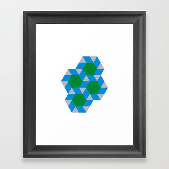 #355 Green suns – Geometry Daily Framed Art Print