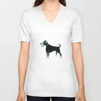 schnauzer V-neck T-shirts featuring Schnauzer by Cathy Brear