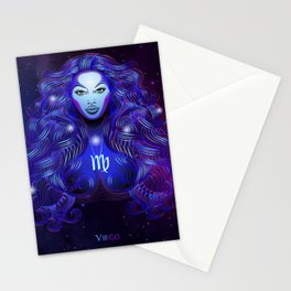 Zodiac neon signs — Virgo Stationery Cards