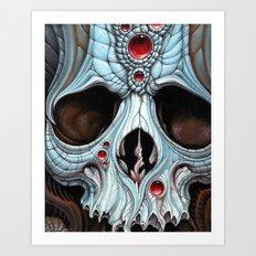 blue skull red jewels Art Print