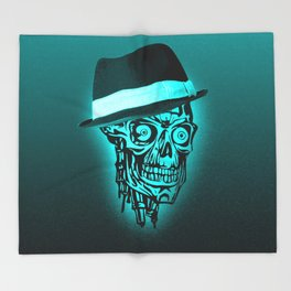 Elegant Skull with hat,mint Throw Blanket