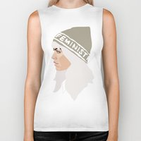 feminist Biker Tanks featuring Feminist (Silver) by Anna McKay