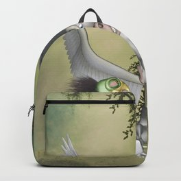 Cute little bird with funny pegasus Backpack