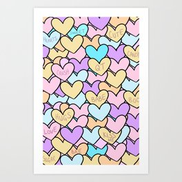 Candied Hearts Art Print