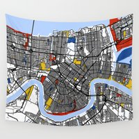 new orleans Wall Tapestries featuring New Orleans by Mondrian Maps