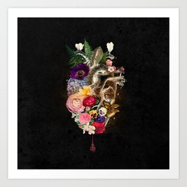 Dark Flower Heart :: Fine Art Collage Art Print