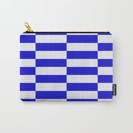 Blue And White Rectangular Checkered Pattern Carry-All Pouch