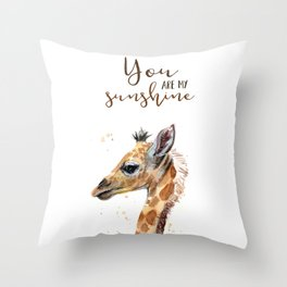 You Are My Sunshine Giraffe Nursery Animals Watercolor Art Throw Pillow