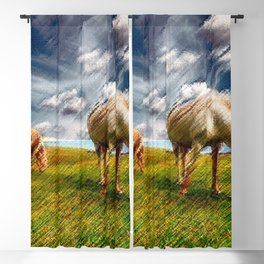 Horses Grazing Landscape Painting by Jeanpaul Ferro Blackout Curtain