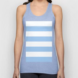 Wide Horizontal Stripes - White and Baby Blue Unisex Tank Top