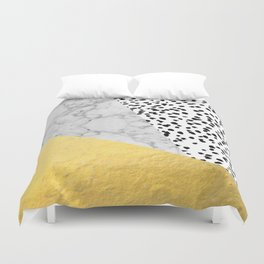 Marble Gold Dots - modern hipster trendy shiny gold foil cell phone case iphone dorm college Duvet Cover