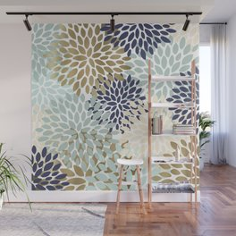Floral Pattern, Navy Blue, Cream, Aqua, Gold Wall Mural