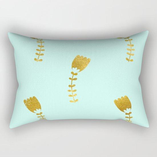 Mint Gold Foil 03 Rectangular Pillow