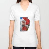 chicken V-neck T-shirts featuring Chicken by Jeanne Hollington