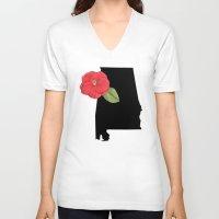 alabama V-neck T-shirts featuring Alabama Silhouette by Ursula Rodgers