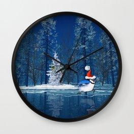 Christmas Blue Bird On Ice Wall Clock