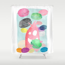 A wild creature in a macaron rain Shower Curtain