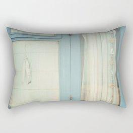 Beach Hut window - blue Rectangular Pillow