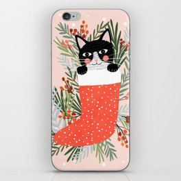 Cat on a sock. Holiday. Christmas iPhone Skin