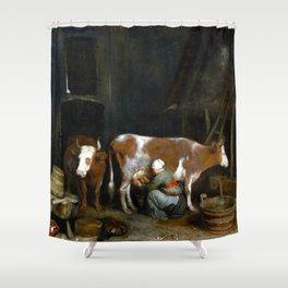 Gerard ter Borch A Maid Milking a Cow in a Barn Shower Curtain