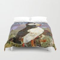 fabric Duvet Covers featuring Fabric Puffin by Madara Mason