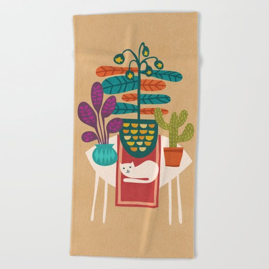 Indoor garden with cat Beach Towel