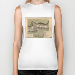 Vintage Map of Newport Rhode Island (1777) Biker Tank