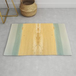 one gull on yellow sands Rug