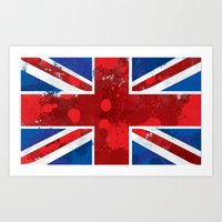 union jack Art Prints featuring Union Jack by Riley