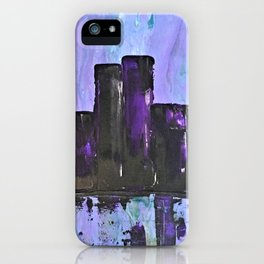 Purple City. Cyber Punk City. Jodilynpaintings Purple City Abstract iPhone Case
