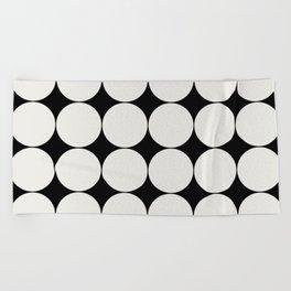 Circular Minimalism - Black & White Beach Towel